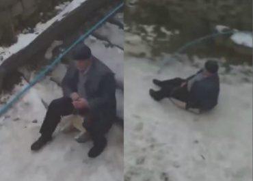 (ვიდეო) 82 წლის ბაბუ ციგით სრიალებს