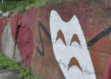 ჭიათურის მერიამ 45 000 ლარი დახარჯა კედლის აღდგენაში და მოხატა, რომ დაზიანება დაეფარა